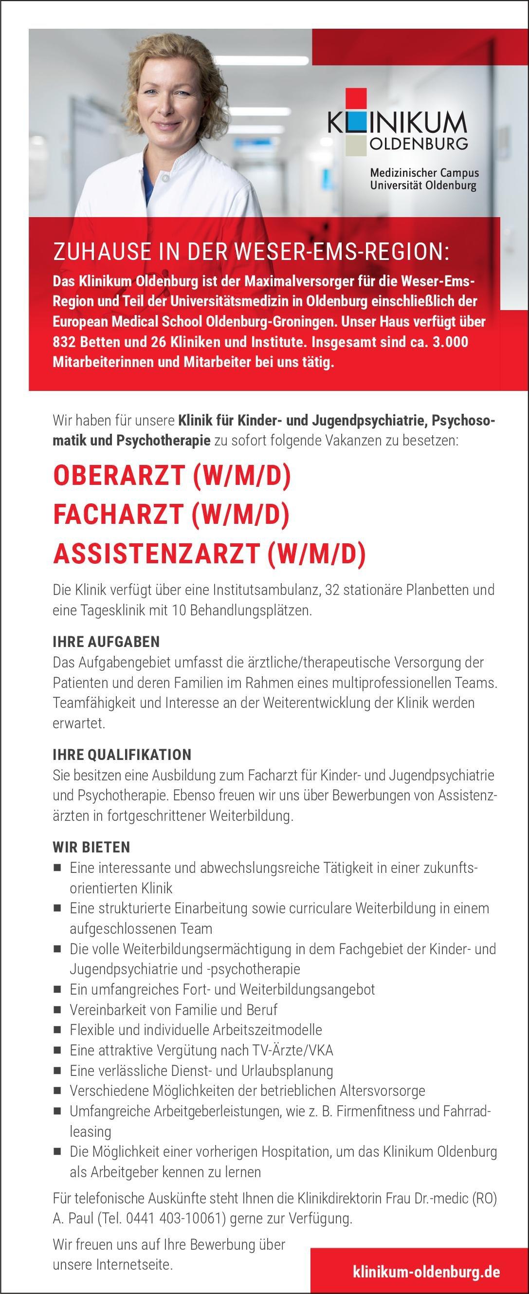 Klinikum Oldenburg AöR Oberarzt (w/m/d) Kinder- und Jugendpsychiatrie, Psychosomatik und Psychotherapie Kinder- und Jugendpsychiatrie und -psychotherapie, Psychosomatische Medizin und Psychotherapie Oberarzt
