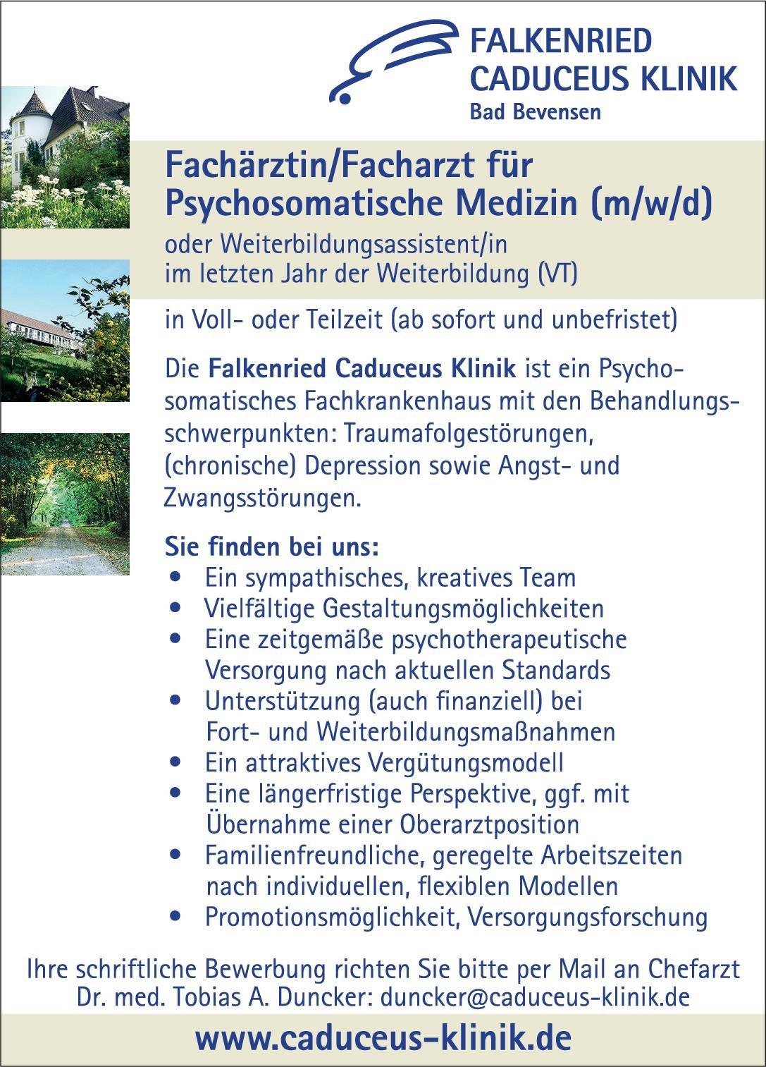 Falkenried Caduceus Klinik Fachärztin/Facharzt für Psychosomatische Medizin (m/w/d) Psychosomatische Medizin und Psychotherapie Arzt / Facharzt