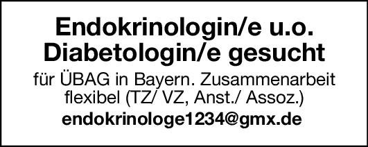 Überörtliche Berufsausübungsgemeinschaft Endokrinologin/e u.o. Diabetologin/e  Innere Medizin und Endokrinologie und Diabetologie, Innere Medizin Arzt / Facharzt