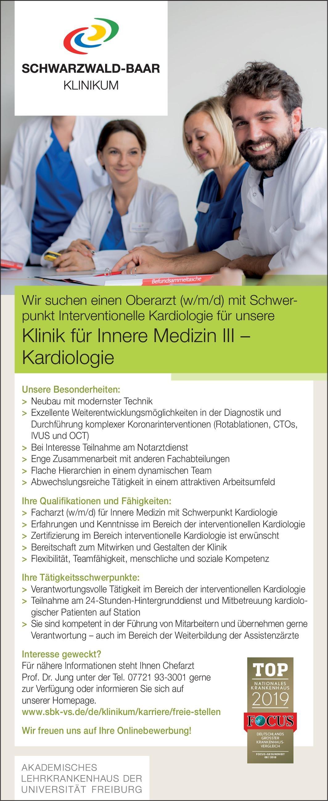 Schwarzwald-Baar Klinikum Oberarzt (w/m/d) mit Schwerpunkt Interventionelle Kardiologie  Innere Medizin und Kardiologie, Innere Medizin Oberarzt
