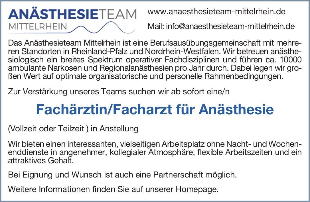 Berufsausübungsgemeinschaft Fachärztin/Facharzt für Anästhesie Anästhesiologie / Intensivmedizin Arzt / Facharzt