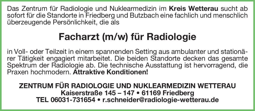 ZENTRUM FÜR RADIOLOGIE UND NUKLEARMEDIZIN WETTERAU Facharzt (m/w) für Radiologie  Radiologie, Radiologie Arzt / Facharzt