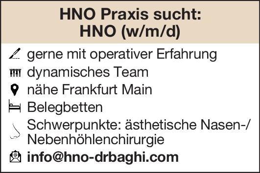 Praxis Facharzt/Fachärztin HNO  Hals-Nasen-Ohrenheilkunde, Hals-Nasen-Ohrenheilkunde Arzt / Facharzt