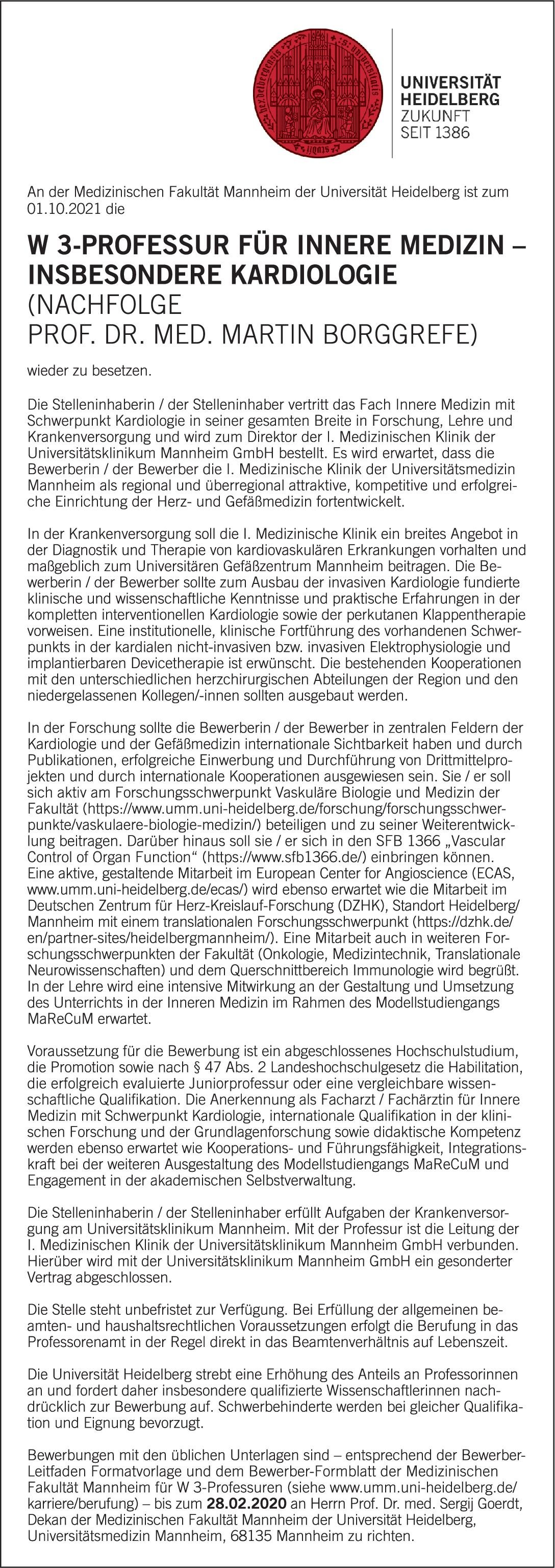Universität Heidelberg W3-Professur für Innere Medizin – Insbesondere Kardiologie  Innere Medizin und Kardiologie, Innere Medizin Professor