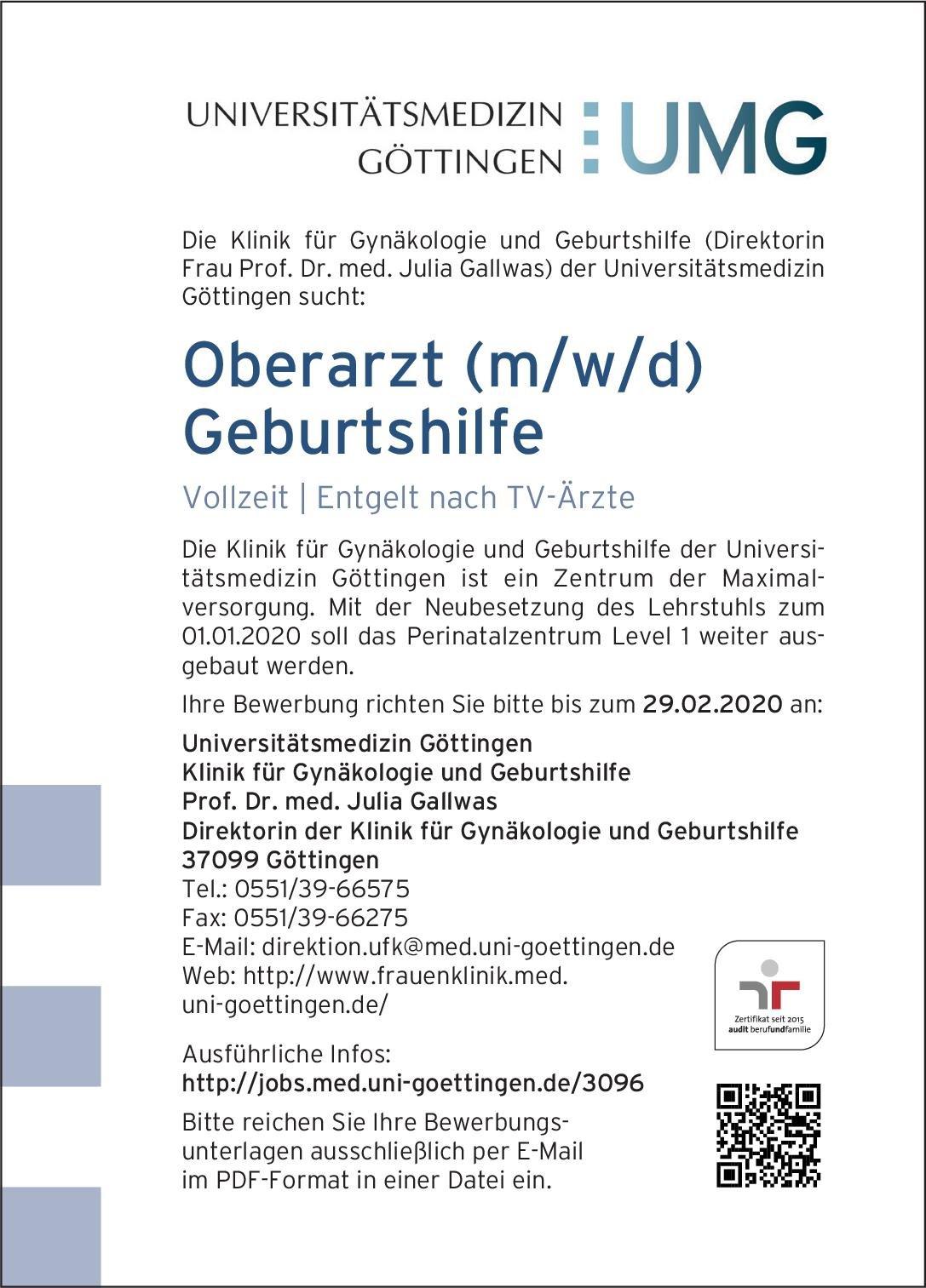 Universitätsmedizin Göttingen Oberarzt (m/w/d) Geburtshilfe  Frauenheilkunde und Geburtshilfe, Frauenheilkunde und Geburtshilfe Oberarzt
