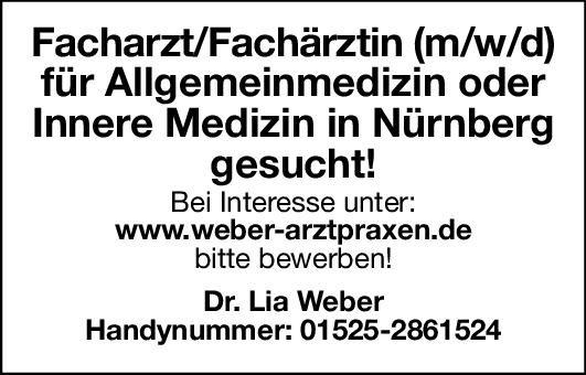 Praxis Dr. Lia Weber Facharzt/Fachärztin (m/w/d) - Allgemeinmedizin oder Innere Medizin  Innere Medizin, Allgemeinmedizin, Innere Medizin Arzt / Facharzt