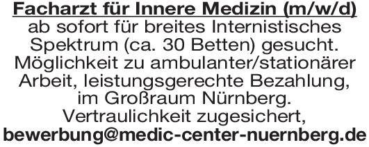 Praxis Facharzt für Innere Medizin (m/w/d)  Innere Medizin, Innere Medizin Arzt / Facharzt