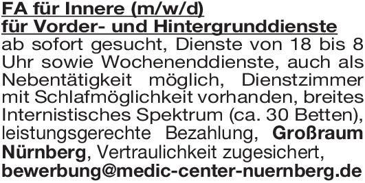 Praxis Facharzt für Innere (m/w/d) für Vorder- und Hintergrunddienste  Innere Medizin, Innere Medizin Arzt / Facharzt