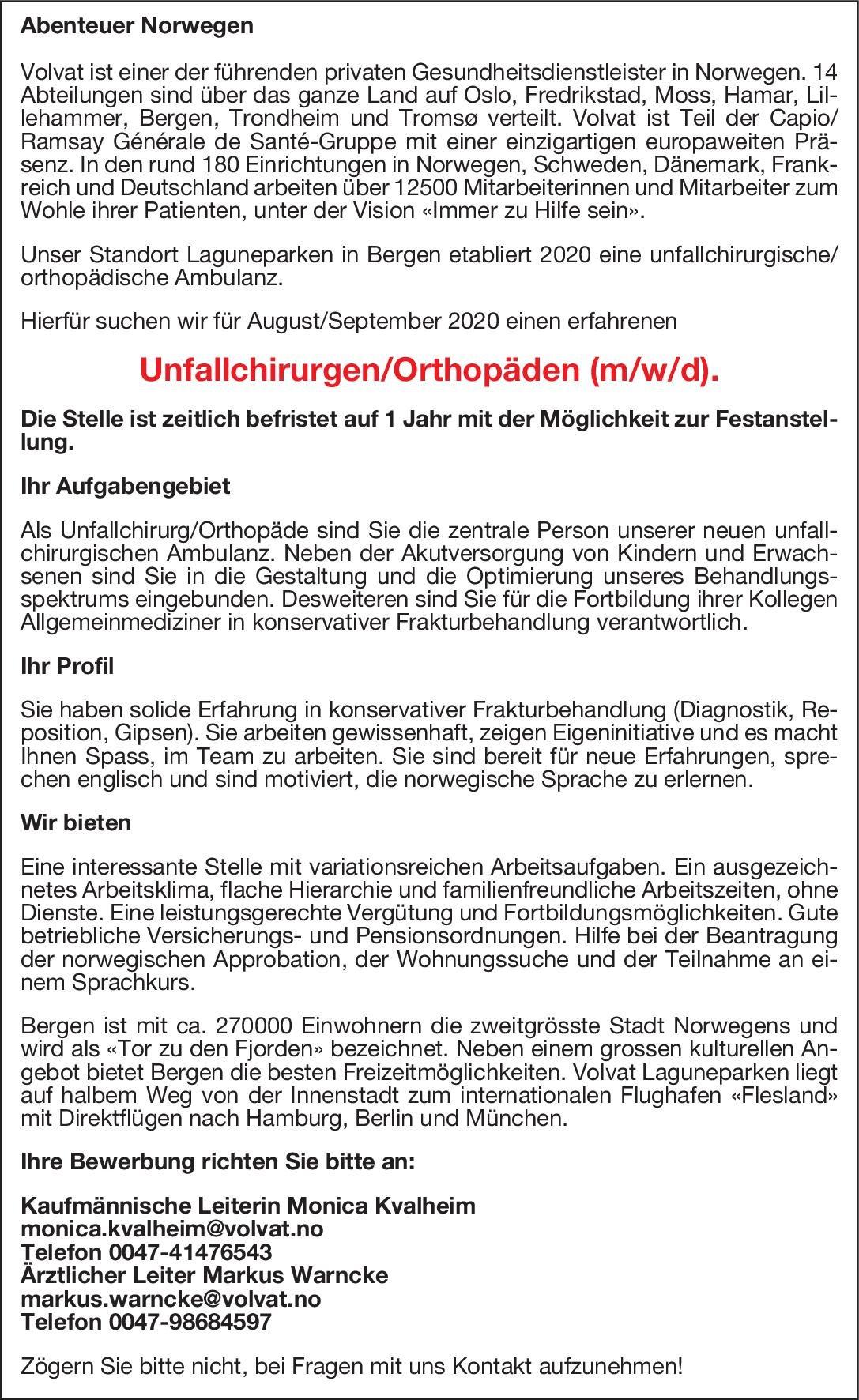 Volvat Unfallchirurg/Orthopäde (m/w/d)  Orthopädie und Unfallchirurgie, Chirurgie Arzt / Facharzt