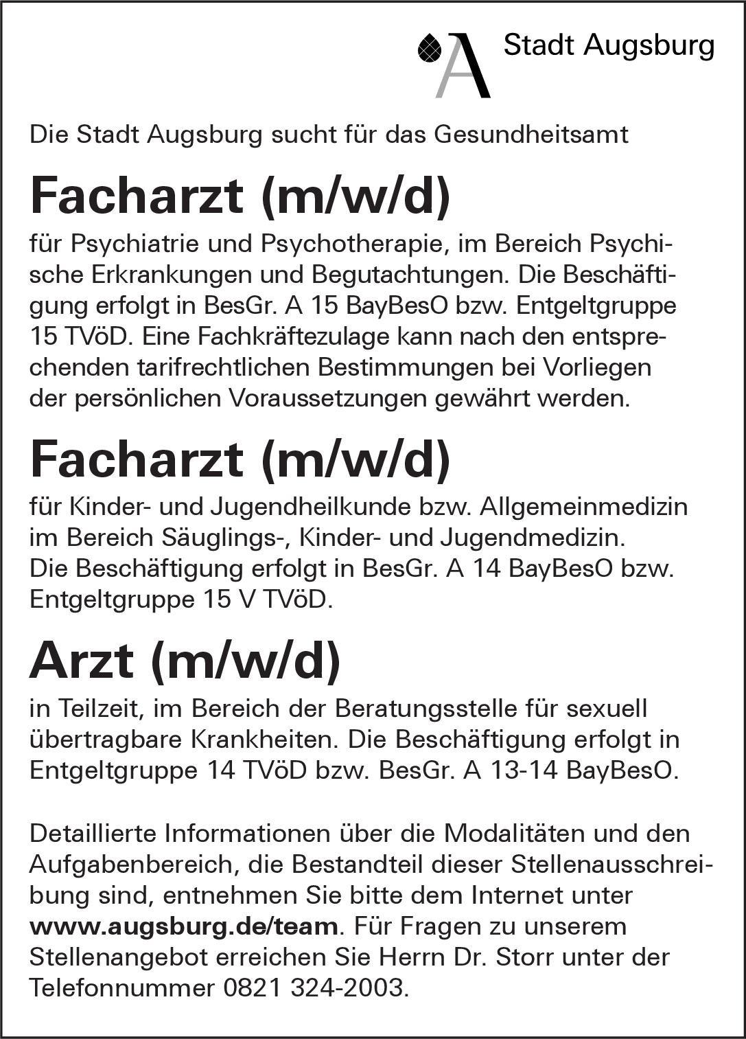 Stadt Augsburg - Gesundheitsamt Facharzt (m/w/d) für Kinder- und Jugendheilkunde bzw. Allgemeinmedizin  Kinder- und Jugendmedizin, Allgemeinmedizin, Kinder- und Jugendmedizin Arzt / Facharzt