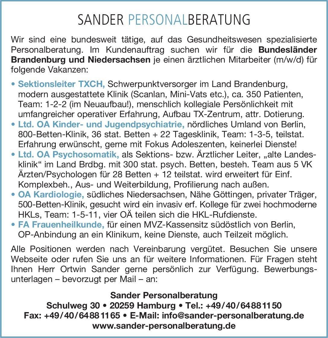 Sander Personalberatung Ltd. OA Psychosomatik Psychosomatische Medizin und Psychotherapie Oberarzt