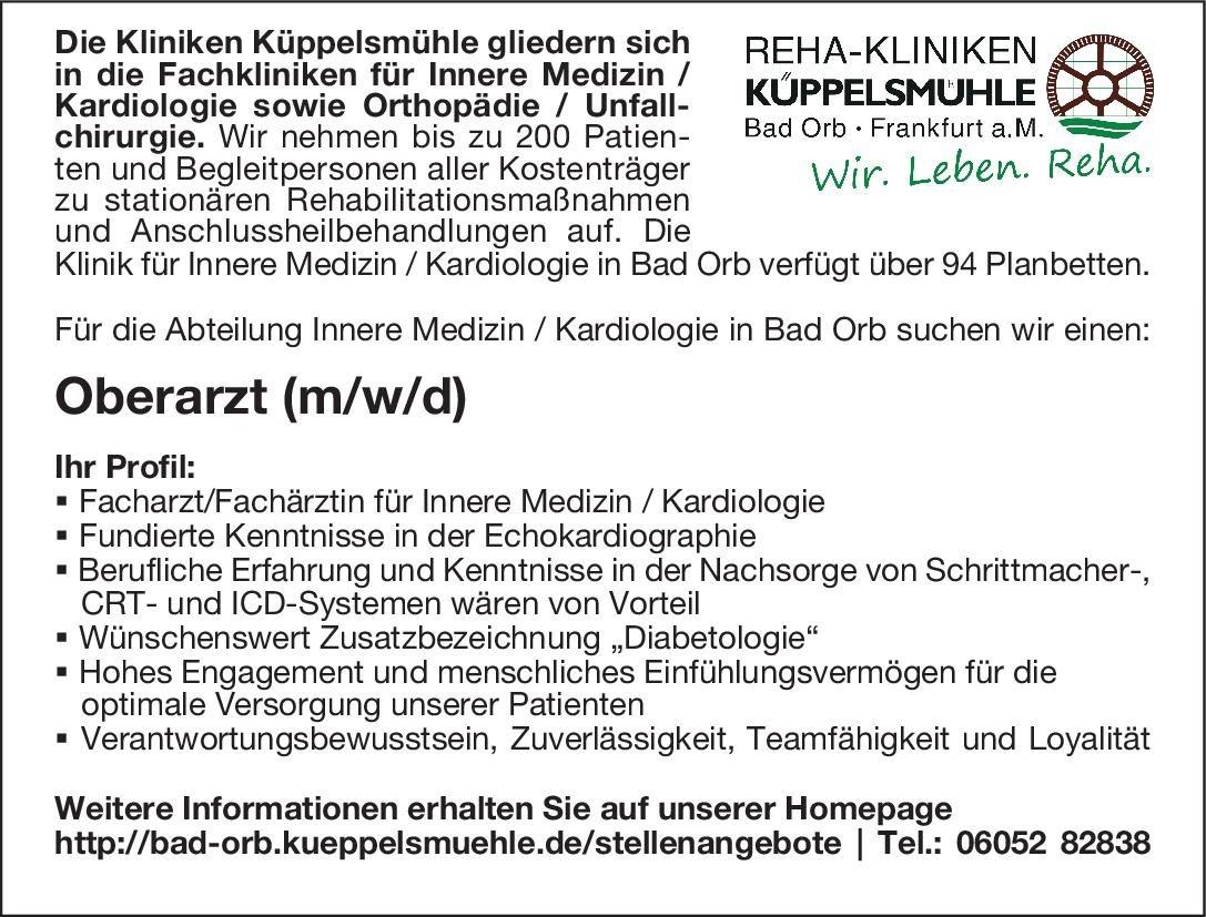 Reha-Kliniken Küppelsmühle Oberarzt (m/w/d) Innere Medizin / Kardiologie  Innere Medizin und Kardiologie, Innere Medizin Oberarzt