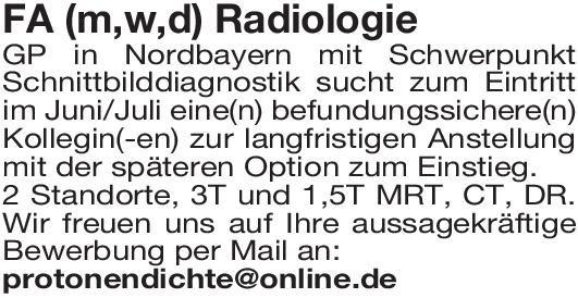 Gemeinschaftspraxis Facharzt (m/w/d) Radiologie  Radiologie, Radiologie Arzt / Facharzt