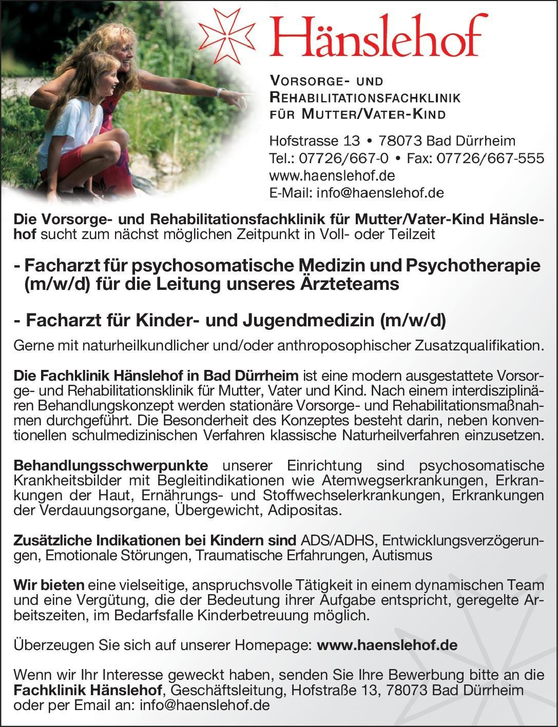 Fachklinik Hänslehof Facharzt für Kinder- und Jugendmedizin (m/w/d)  Kinder- und Jugendmedizin, Kinder- und Jugendmedizin Arzt / Facharzt