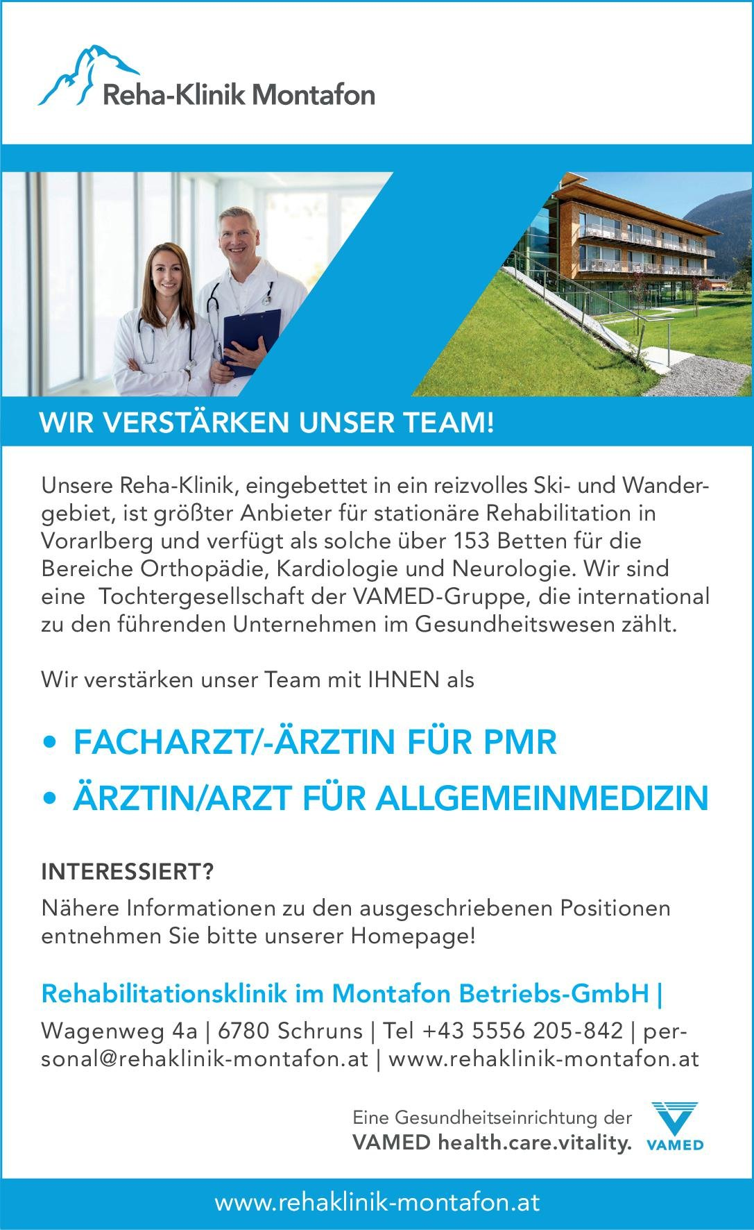 Rehabilitationsklinik im Montafon Betriebs-GmbH Facharzt/Fachärztin für PMR Physikalische- und Rehabilitative Medizin Arzt / Facharzt
