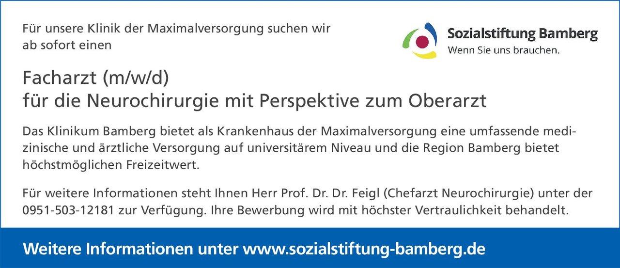 Sozialstiftung Bamberg - Klinikum Bamberg Facharzt (m/w/d) für die Neurochirurgie mit Perspektive zum Oberarzt Neurochirurgie Arzt / Facharzt