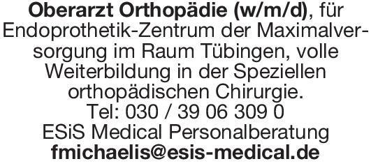 ESiS Medical Personalberatung Oberarzt Orthopädie (w/m/d)  Orthopädie und Unfallchirurgie, Chirurgie Oberarzt