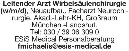 ESiS Medical Personalberatung Leitender Arzt Wirbelsäulenchirurgie(w/m/d) Chirurgie, Neurochirurgie Ärztl. Leiter
