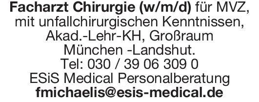 ESiS Medical Personalberatung Facharzt Chirurgie (w/m/d) Chirurgie Arzt / Facharzt