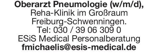 ESiS Medical Personalberatung Oberarzt Pneumologie (w/m/d)  Innere Medizin und Pneumologie, Innere Medizin Oberarzt