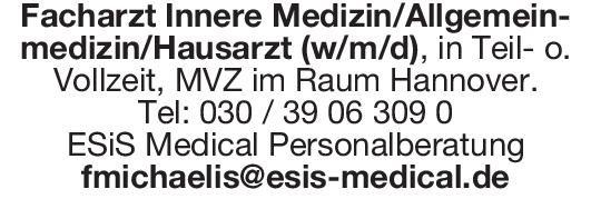 ESiS Medical Personalberatung Facharzt Innere Medizin/Allgemeinmedizin/Hausarzt (w/m/d)  Innere Medizin, Allgemeinmedizin, Innere Medizin Arzt / Facharzt