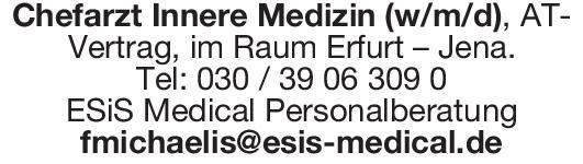 ESiS Medical Personalberatung Chefarzt Innere Medizin (w/m/d)  Innere Medizin, Innere Medizin Chefarzt