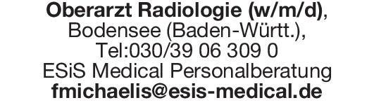 ESiS Medical Personalberatung Oberarzt Radiologie (w/m/d)  Radiologie, Radiologie Oberarzt