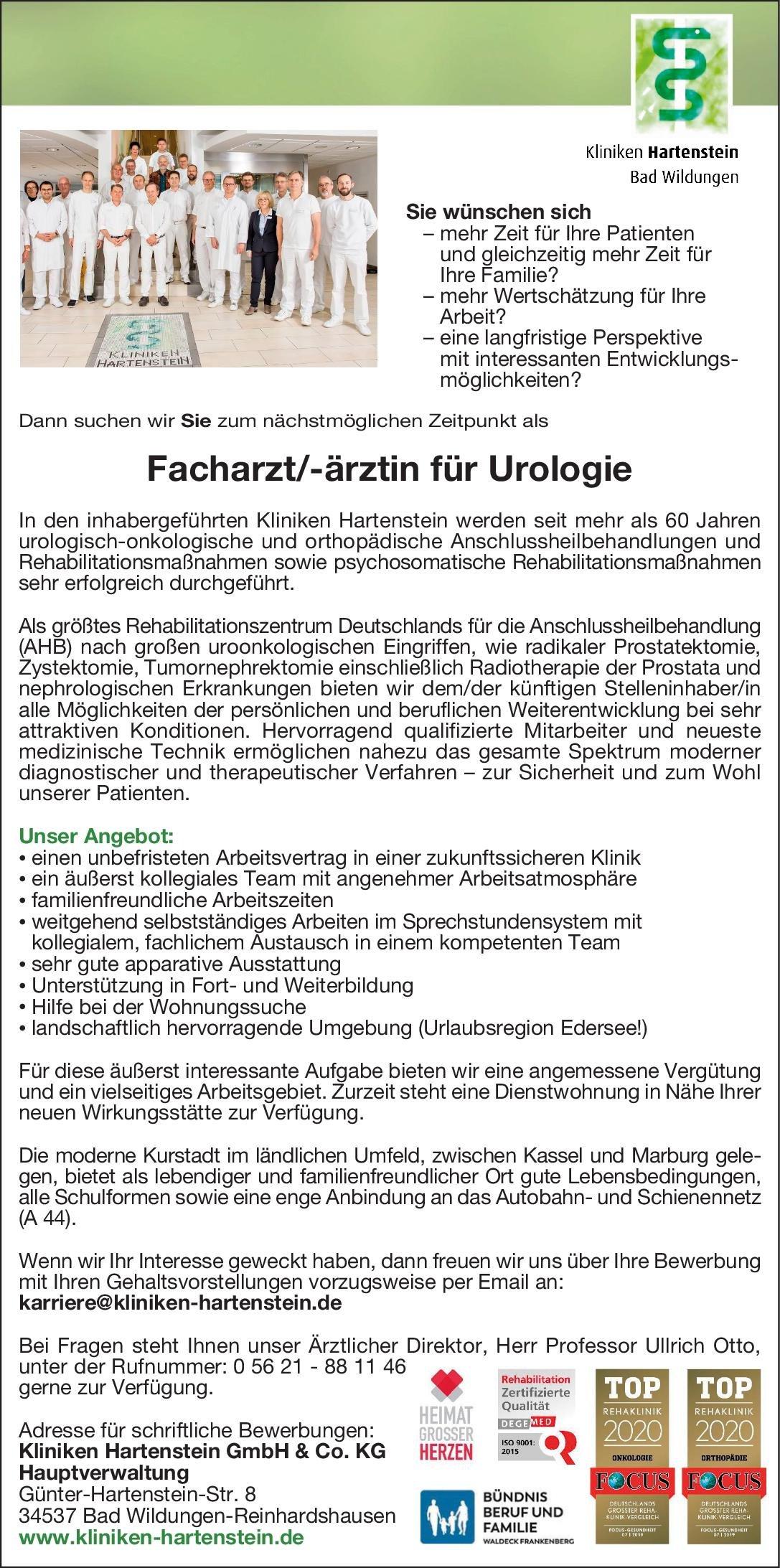 Kliniken Hartenstein Facharzt/-ärztin für Urologie Urologie Arzt / Facharzt