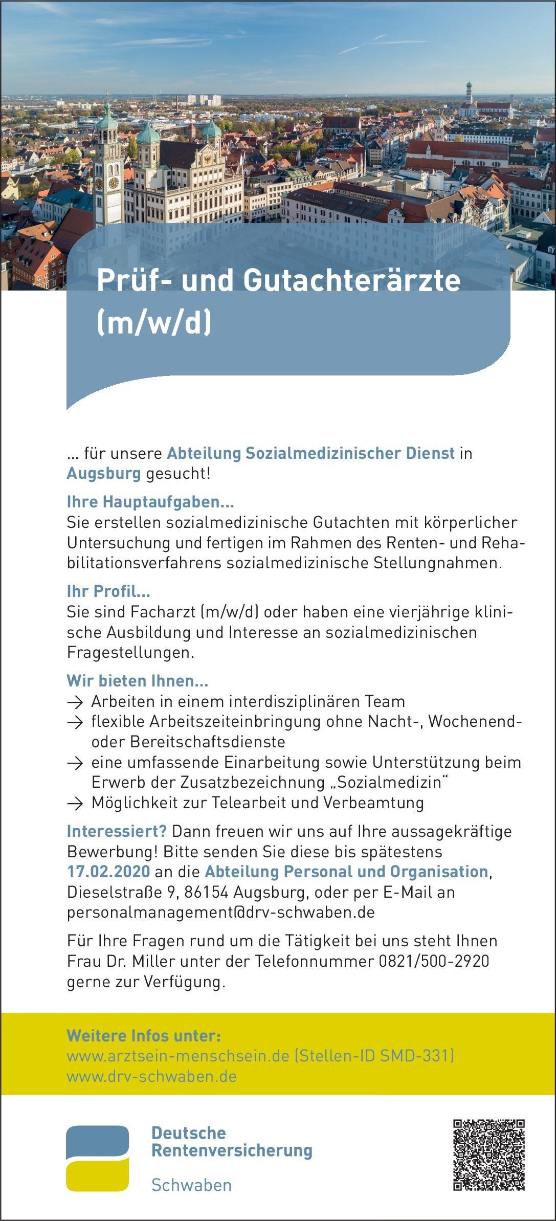 Deutsche Rentenversicherung Schwaben Prüf- und Gutachterärzte (m/w/d) * ohne Gebiete Arzt / Facharzt, Gutachter / Dokumentar