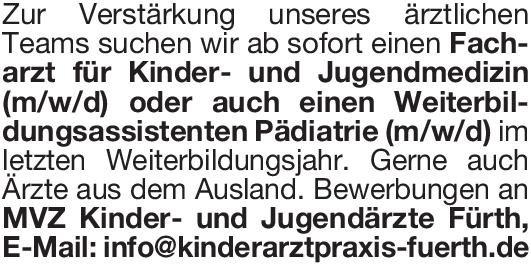 MVZ Kinder- und Jugendärzte Fürth GmbH Facharzt für Kinder- und Jugendmedizin (m/w/d) oder  Weiterbildungsassistenten Pädiatrie (m/w/d)  Kinder- und Jugendmedizin, Kinder- und Jugendmedizin Arzt / Facharzt, Assistenzarzt / Arzt in Weiterbildung