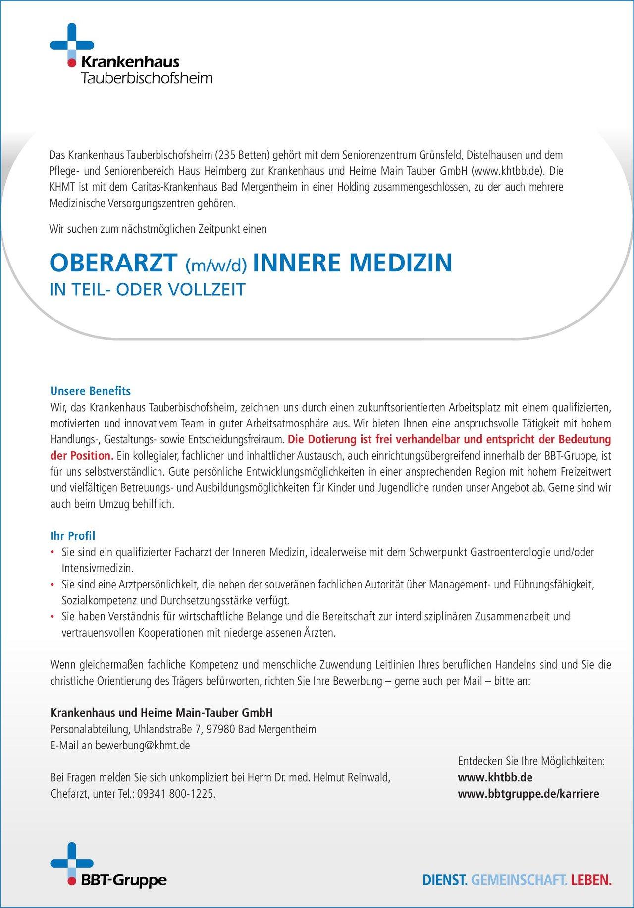 Krankenhaus Tauberbischofsheim Oberarzt (m/w/d) Innere Medizin in Teil- oder Vollzeit  Innere Medizin, Innere Medizin Oberarzt