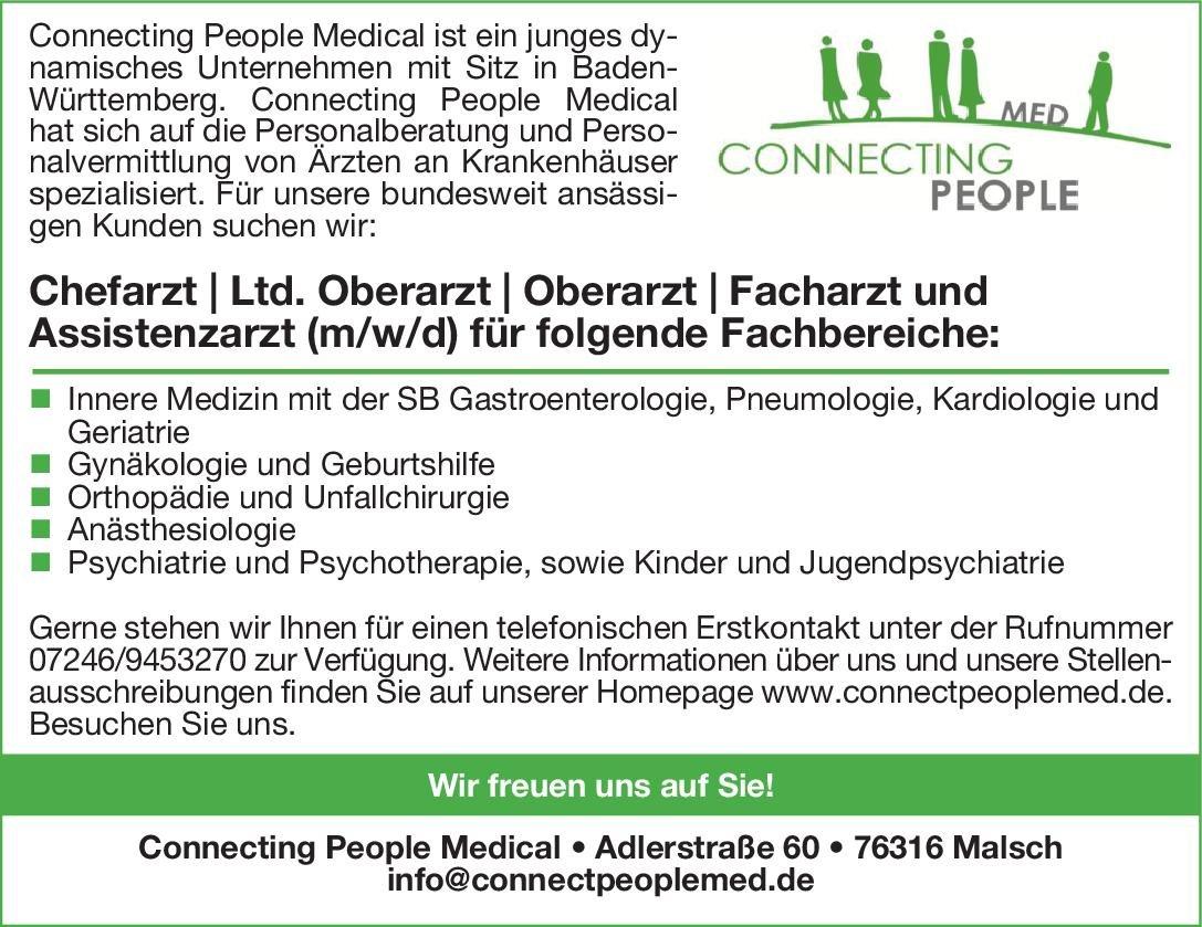 Connecting People Medical Chefarzt / Ltd. Oberarzt / Oberarzt / Facharzt und Assistenzarzt (m/w/d) Anästhesiologie Anästhesiologie / Intensivmedizin Arzt / Facharzt, Assistenzarzt / Arzt in Weiterbildung, Chefarzt
