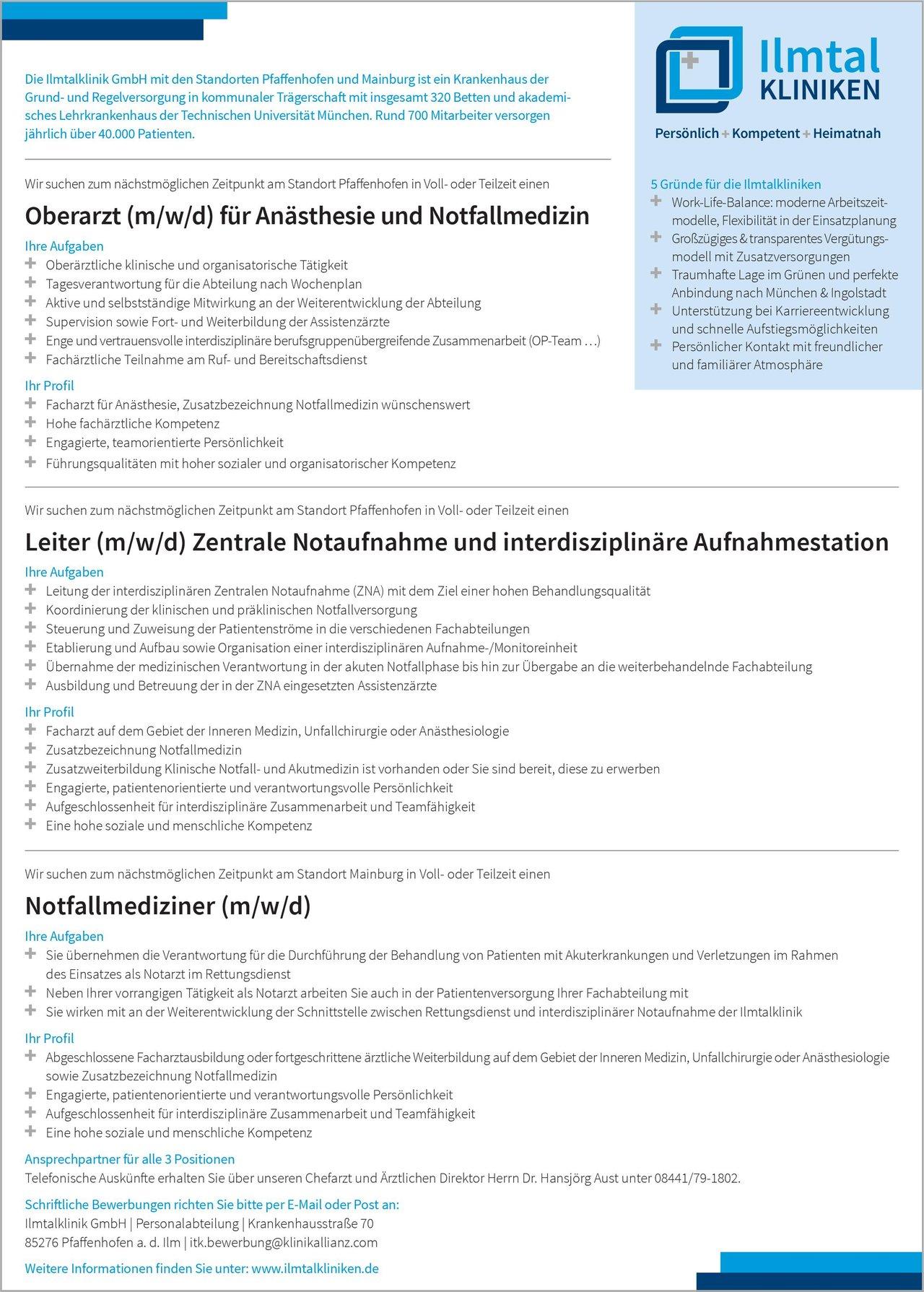 Ilmtal Kliniken Notfallmediziner (m/w/d) Notfallmedizin Arzt / Facharzt