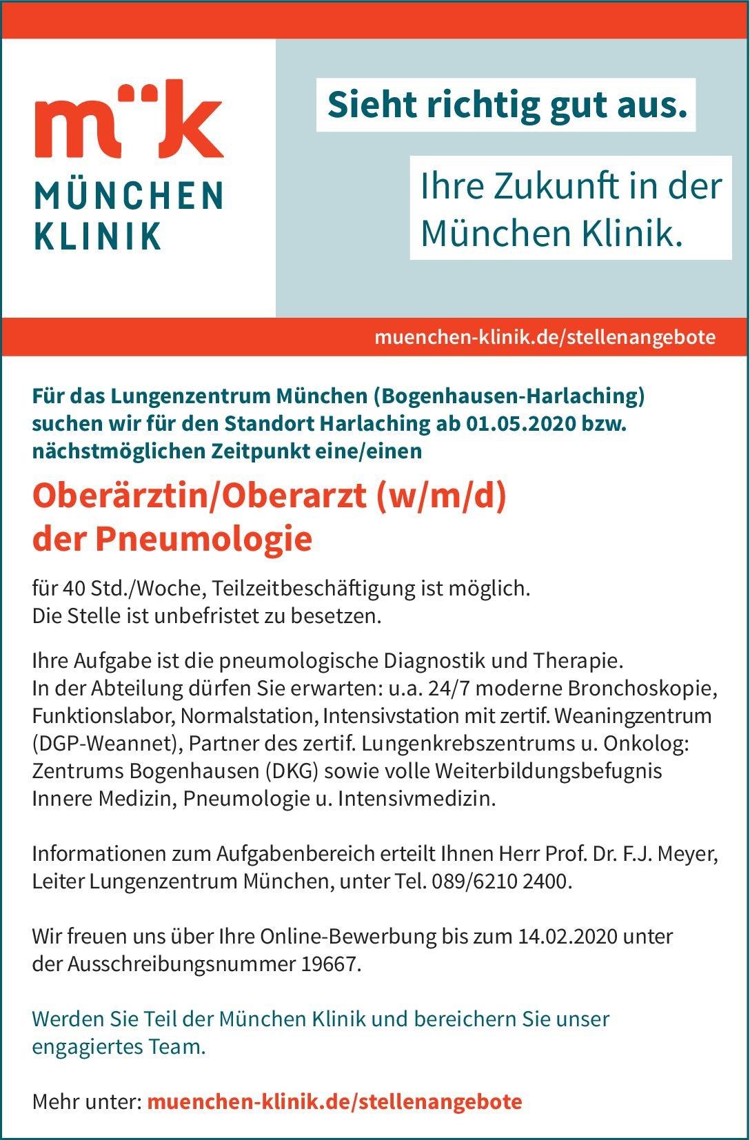 München Klinik Oberärztin/Oberarzt (w/m/d) der Pneumologie  Innere Medizin und Pneumologie, Innere Medizin Oberarzt