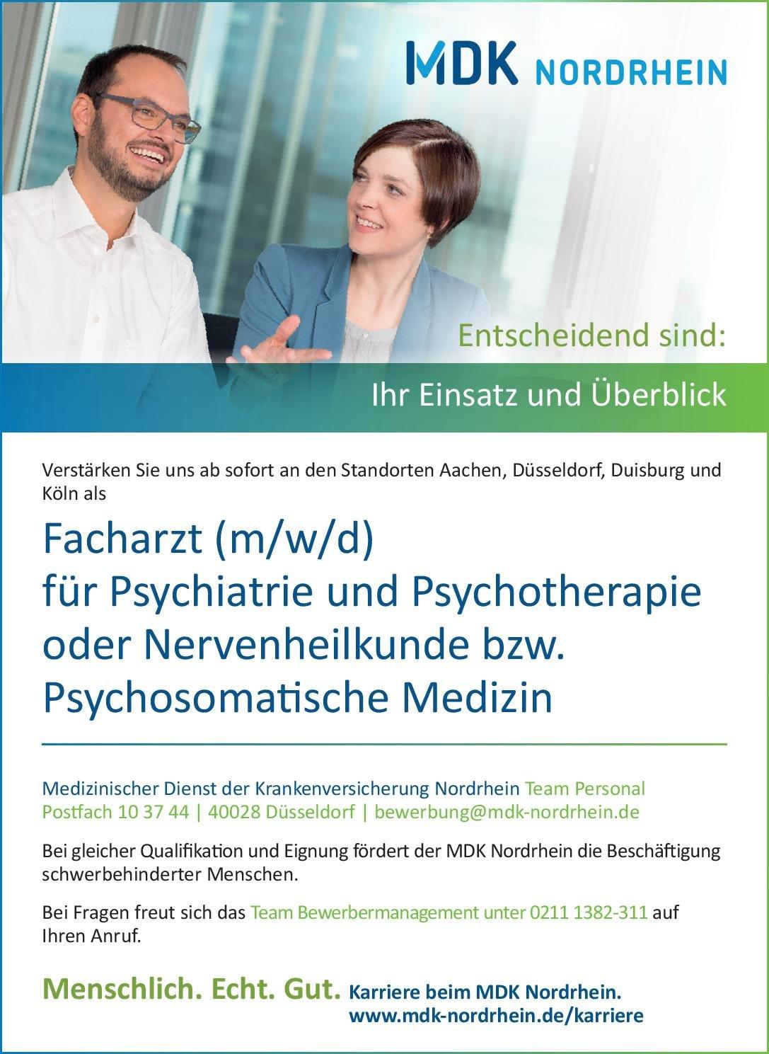 MDK Medizinischer Dienst der Krankenversicherung Nordrhein Facharzt (m/w/d) für Psychiatrie und Psychotherapie oder Nervenheilkunde bzw. Psychosomatische Medizin  Psychiatrie und Psychotherapie, Psychiatrie und Psychotherapie, Psychosomatische Medizin und Psychotherapie Arzt / Facharzt
