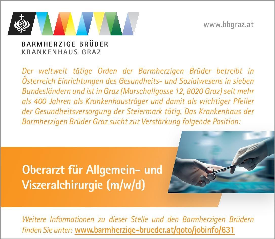 Barmherzige Brüder Krankenhaus Graz Oberarzt für Allgemein- und Viszeralchirurgie (m/w/d)  Allgemeinchirurgie, Viszeralchirurgie, Chirurgie Oberarzt