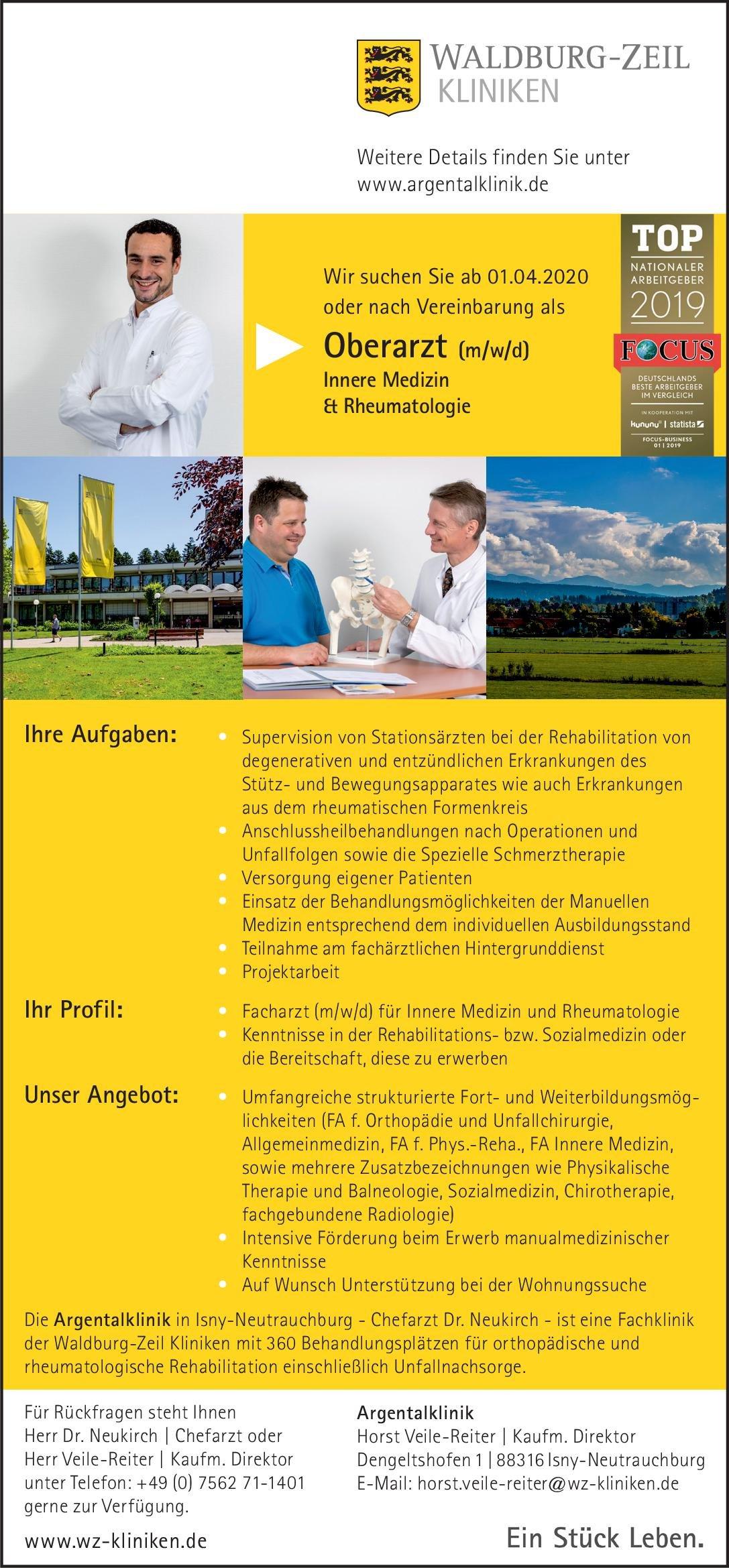 Waldburg-Zeil Kliniken - Argentalklinik Oberarzt (m/w/d) Innere Medizin & Rheumatologie  Innere Medizin und Rheumatologie, Innere Medizin Oberarzt