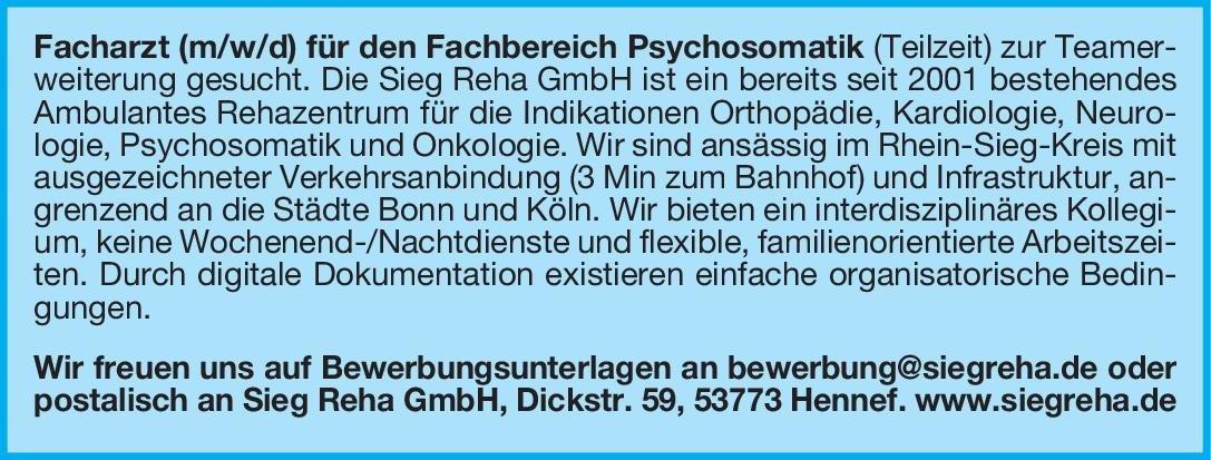 Sieg Reha GmbH Facharzt (m/w/d) für den Fachbereich Psychosomatik Psychosomatische Medizin und Psychotherapie Arzt / Facharzt