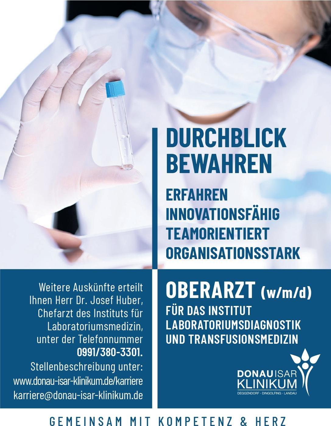 DONAUISAR Klinikum Oberarzt (m/w/d) für Laboratoriumsmedizin und Transfusionsmedizin Laboratoriumsmedizin Oberarzt