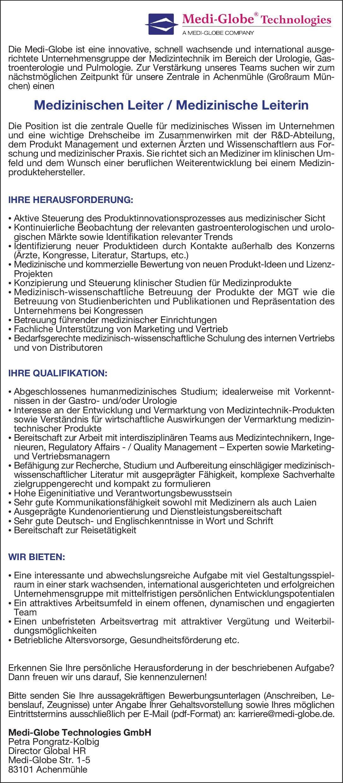 Medi-Globe Technologies GmbH Medizinischen Leiter / Medizinische Leiterin  Innere Medizin und Gastroenterologie, * ohne Gebiete, Innere Medizin Ärztl. Leiter