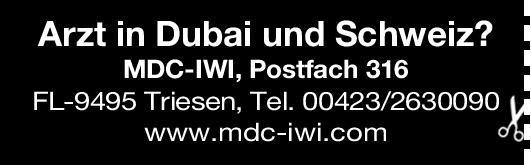 MDC-IWI Arzt in Dubai und Schweiz? * ohne Gebiete Arzt / Facharzt