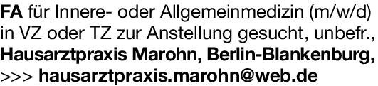 Hausarztpraxis Marohn Facharzt für Innere- oder Allgemeinmedizin (m/w/d)  Innere Medizin, Allgemeinmedizin, Innere Medizin Arzt / Facharzt