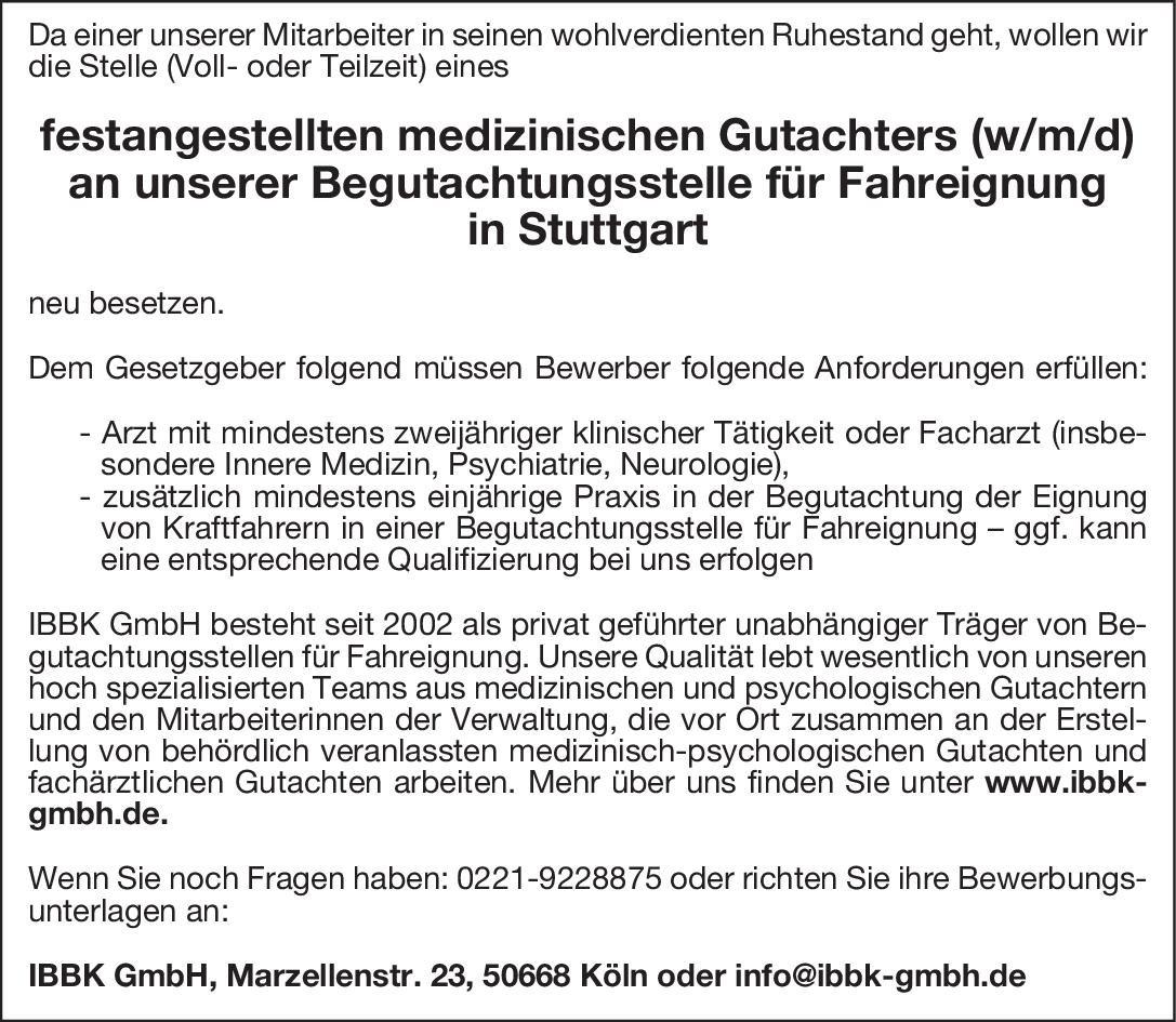 IBBK GmbH Medizinischer Gutachter (w/m/d) für die Begutachtungsstelle für Fahreignung  Innere Medizin, Psychiatrie und Psychotherapie, * andere Gebiete Arzt / Facharzt, Gutachter / Dokumentar