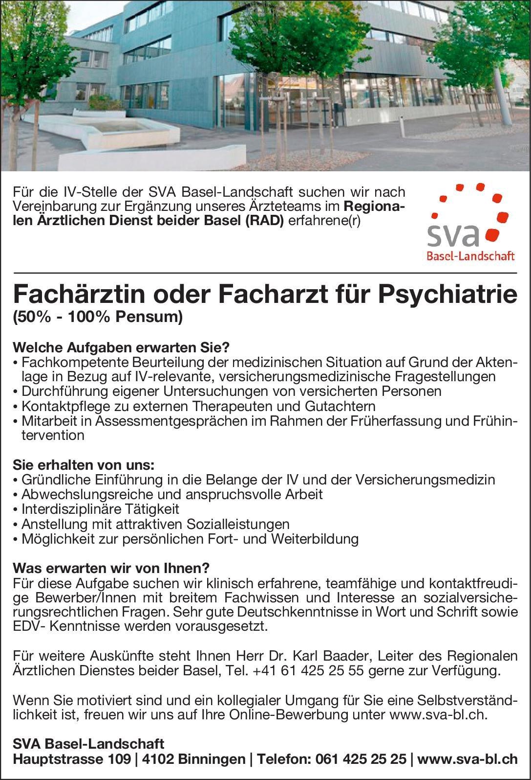 SVA Basel-Landschaft Fachärztin oder Facharzt für Psychiatrie  Psychiatrie und Psychotherapie, Psychiatrie und Psychotherapie Arzt / Facharzt