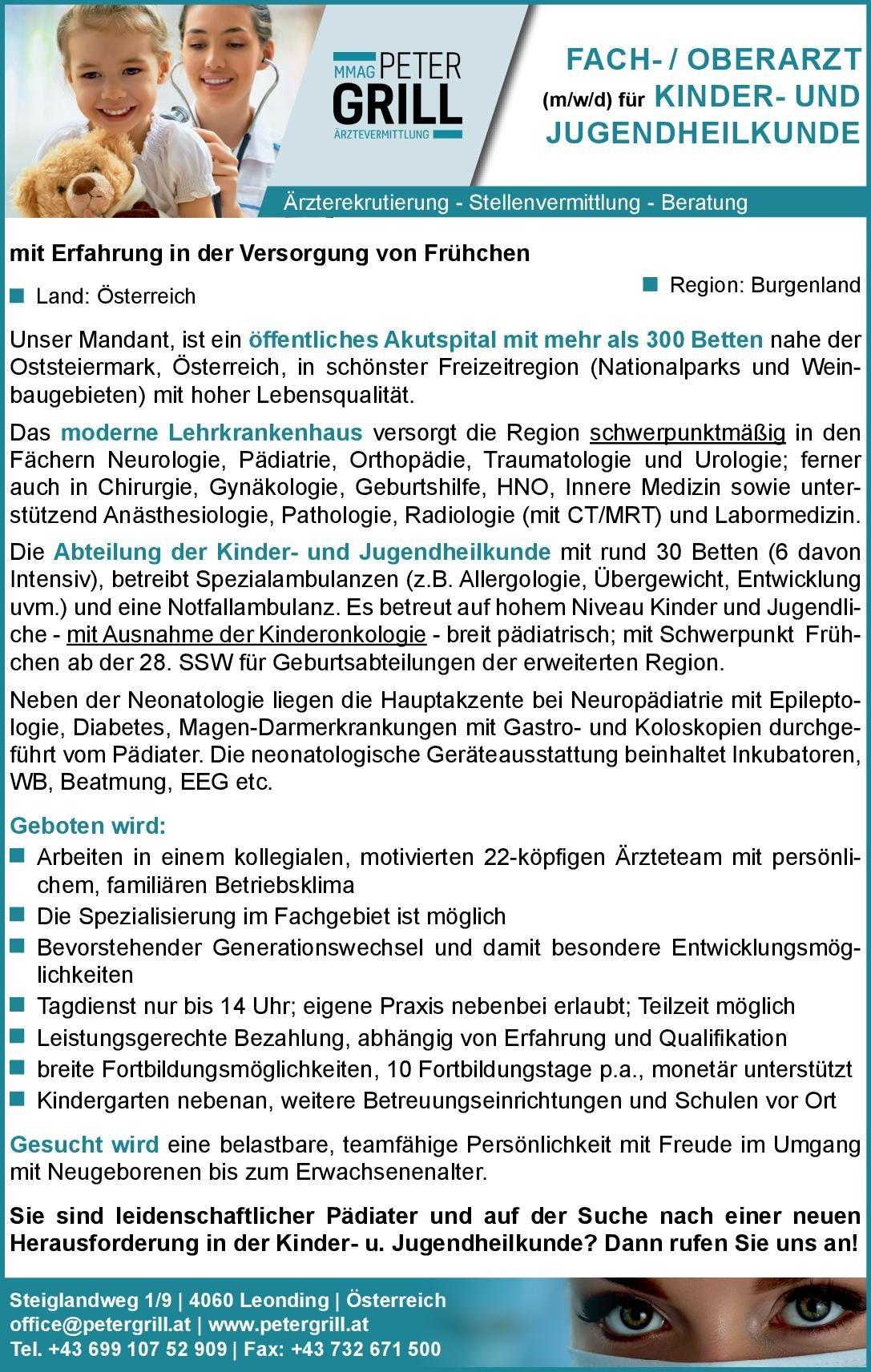 Peter Grill Ärztevermittlung Oberarzt (m/w/d) Kinder- und Jugendmedizin  Kinder- und Jugendmedizin, Kinder- und Jugendmedizin Oberarzt