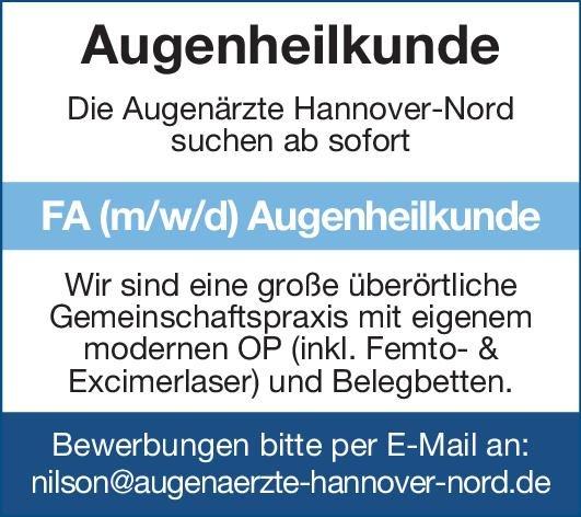 Augenärzte Hannover-Nord Facharzt (m/w/d) Augenheilkunde Augenheilkunde Arzt / Facharzt