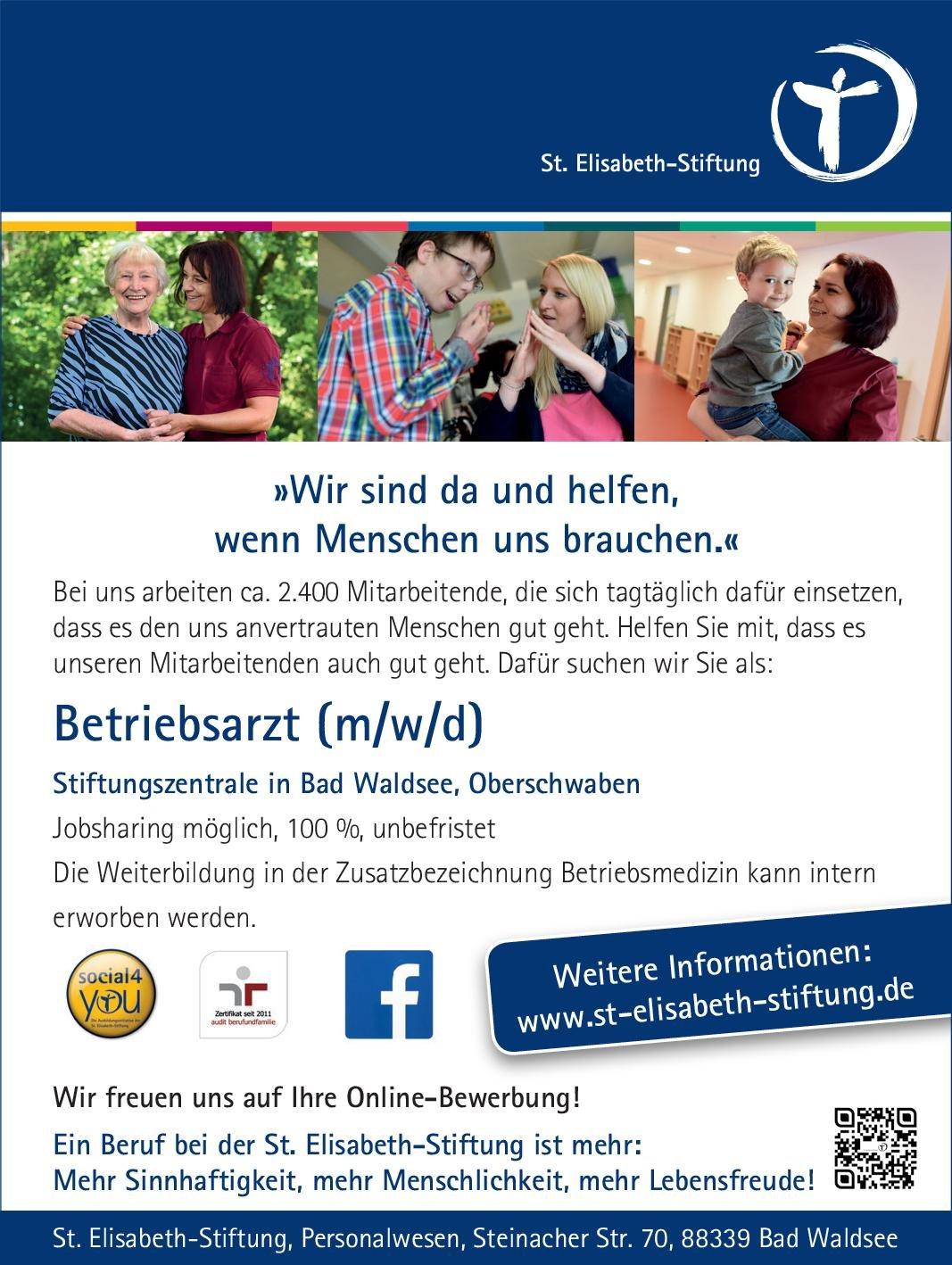 St. Elisabeth-Stiftung Betriebsarzt (m/w/d) Arbeitsmedizin Arzt / Facharzt, Betriebsarzt