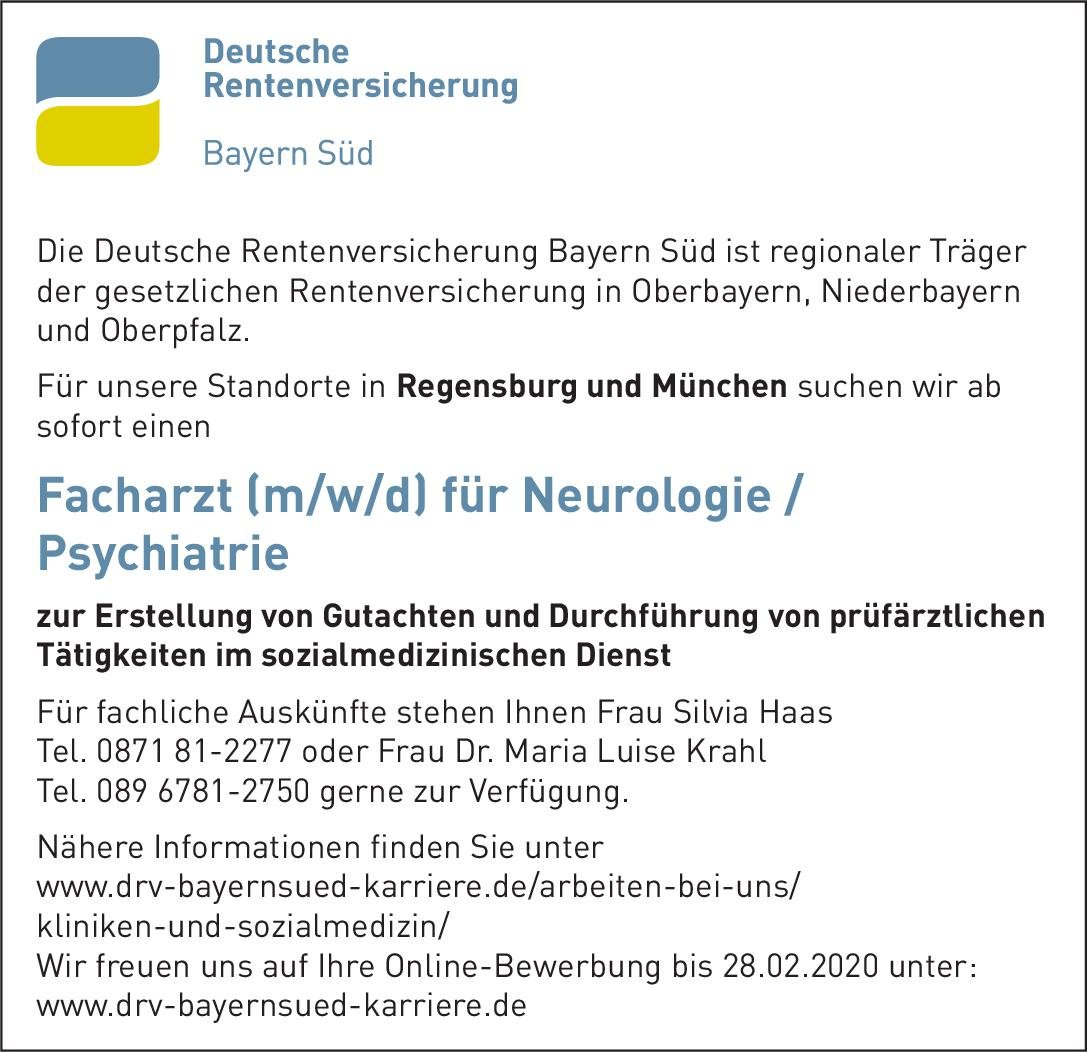 Deutsche Rentenversicherung Bayern Süd Facharzt (m/w/d) für Neurologie/Psychiatrie  Psychiatrie und Psychotherapie, Neurologie, Psychiatrie und Psychotherapie Arzt / Facharzt