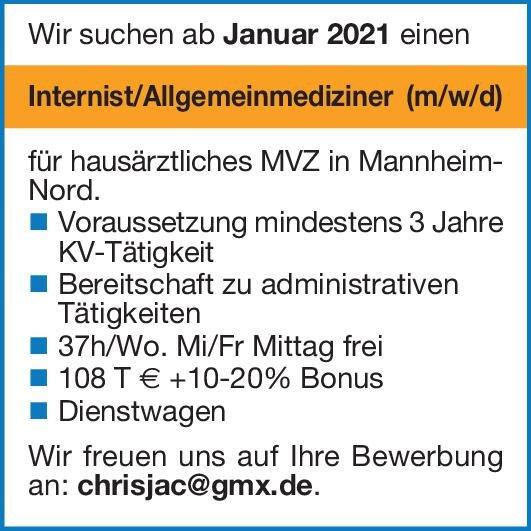 MVZ Internist/Allgemeinmediziner (m/w/d) Allgemeinmedizin Arzt / Facharzt