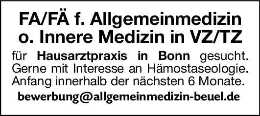 Praxis Facharzt/Fachärztin für Allgemeinmedizin o. Innere Medizin  Innere Medizin, Allgemeinmedizin, Innere Medizin Arzt / Facharzt